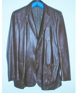 Vintage Peter Caruso Brown Leather Mens Jacket Size 52T XXLT - $60.00
