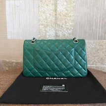 AUTH Chanel 2018 TURQUOISE GREEN LAMBSKIN MEDIUM DOUBLE FLAP BAG SHW image 2