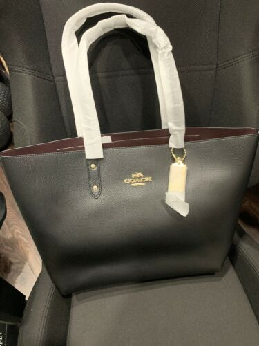 Primary image for New! Coach Town Tote Bag in Polished Pebble Leather F72673 Black Imitation Gold