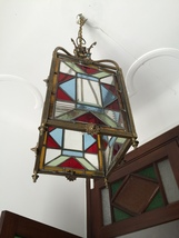 Antique Victorian Stained Glass Hall Lantern Ceiling Light. - $750.00