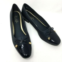 Hush Puppies Soft Style Heels, Size 9.5,  Navy Blue with Bow Accent - $18.46