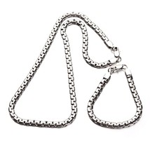 Men's  316L Set Stainless Steel 7mm Flat link chain Necklace and Bracele... - $24.74