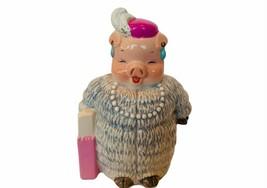 Pig Figurine vtg hog sculpture anthropomorphic Marjorie Sarnat Enesco Mi... - $28.98