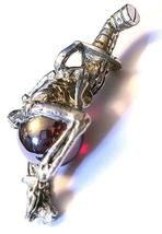SKELETON IN TOP HAT PEWTER PENDANT W/ GLASS SPHERE  Approx 2 inches tall  (T172) image 3