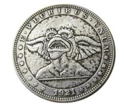 Hobo Nickel Dollar Gremlin Movie Cut Classic Magic Monster Silver Casted... - $10.44