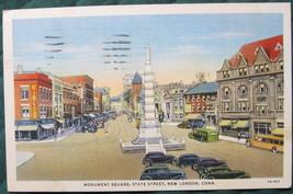 Curt Teich, White Border, Linen Postcard, Monument Sq., New  - $7.00