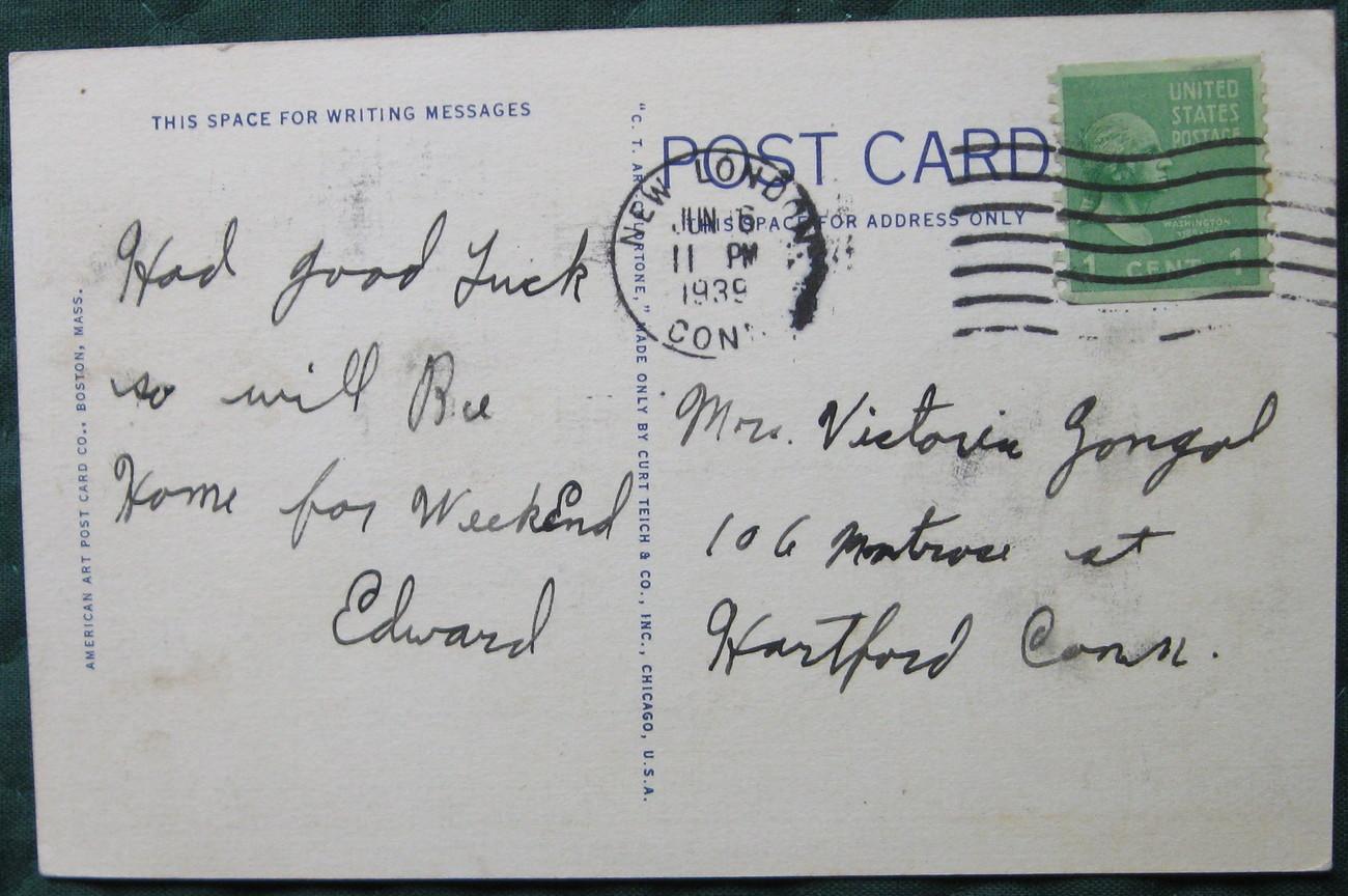 Curt Teich, White Border, Linen Postcard, Monument Sq., New