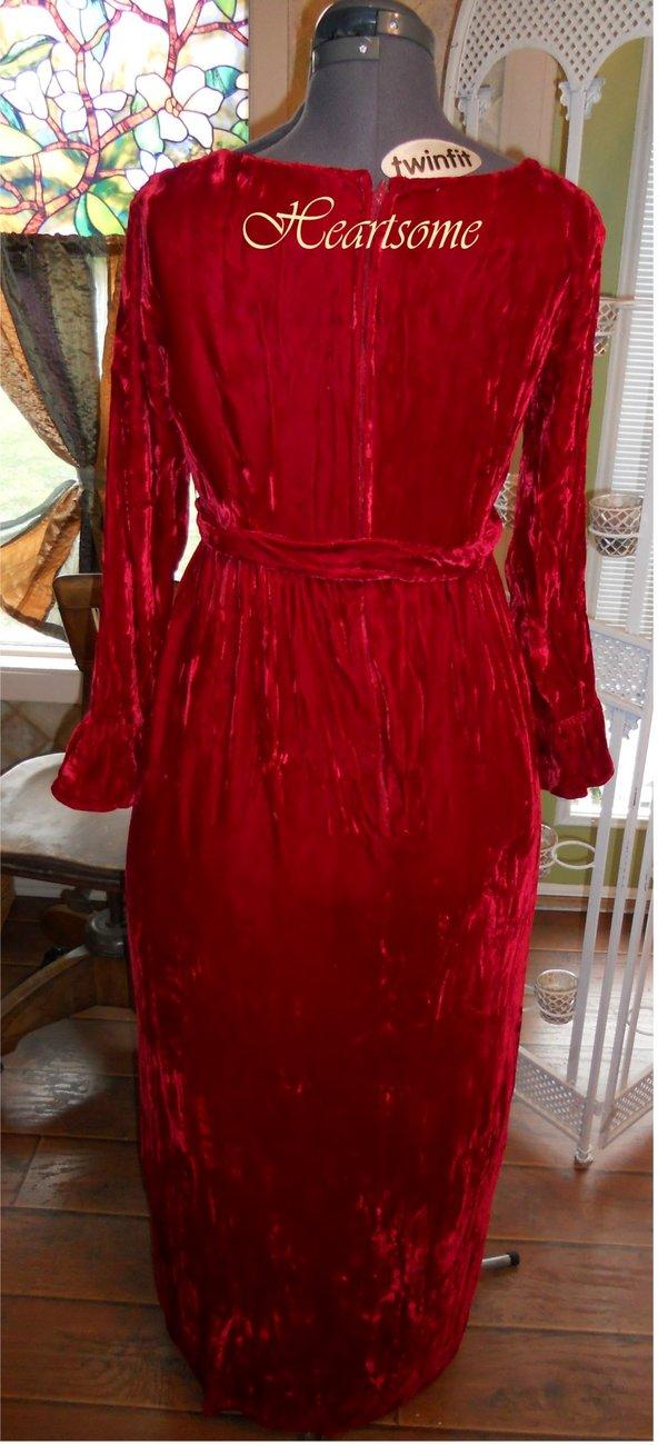 Red velvet 60s Regency dress gown 3 pc ensemble costume Jane Austen Victorian