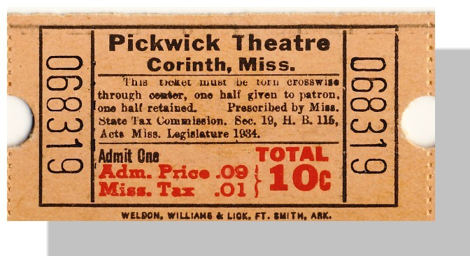 Corinth mi pickwick ticket 10 cents single