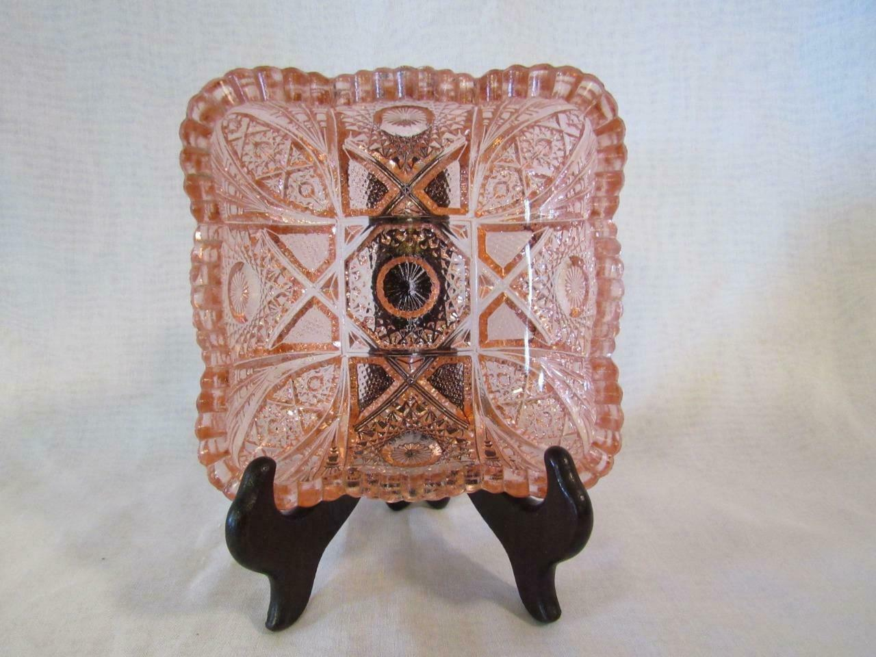 "Primary image for Imperial Nucut Pink Glass, Star & Fan Pattern 5.5"" Square Nappy Candy Dish"