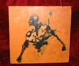 Oil Painting on Wood Skeleton Skull Beast Nyugen E. Smith - $250.00