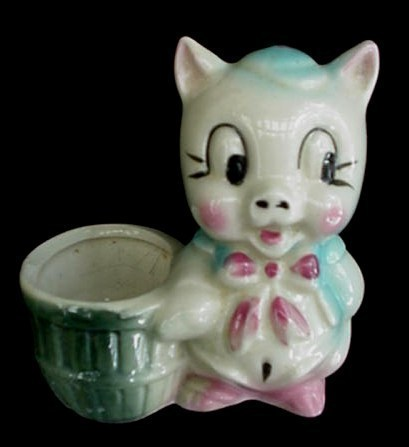 Vintage American Bisque Art Pottery Porky Pig Planter NICE