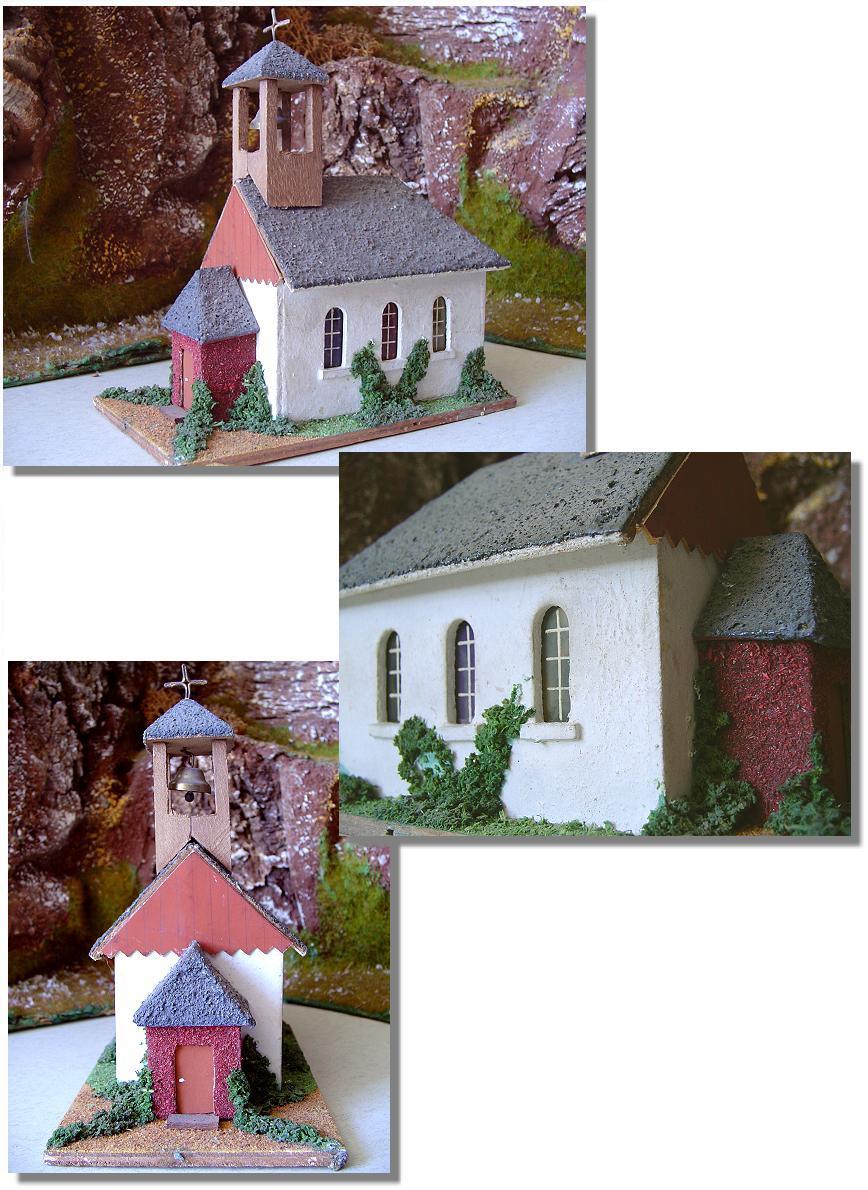 Vintage wooden Putz Church - create your own Putz Scene