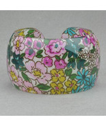 Bangle Bracelet Lucite Pink Green Aqua Floral Pattern Design - $9.99