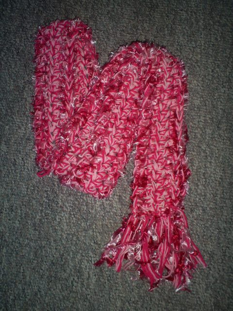 Hand Crochet Scarf in Varigated Pinks & White,  New, Handmade
