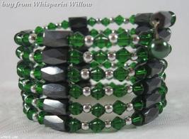 Emerald Green Crystal & Magnetic Hematite Lariat - $14.00