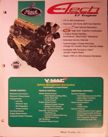 1997 Mack E7 E-Tech Engine Color Brochure