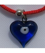 Lot of 2 Red string bracelet with heart & evil eye protection symbol kab... - £4.30 GBP