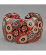 Bangle Bracelet Lucite Red White Aqua Floral Pattern Design - $7.99