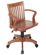 Fruitwood finish Mission Style Swivel Bankers Office Wood Chair w/Arms S... - $142.00