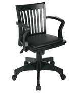 Black Finish Bankers Mission Style Swivel Wood Chair w/Arms & Padded Vin... - $154.00