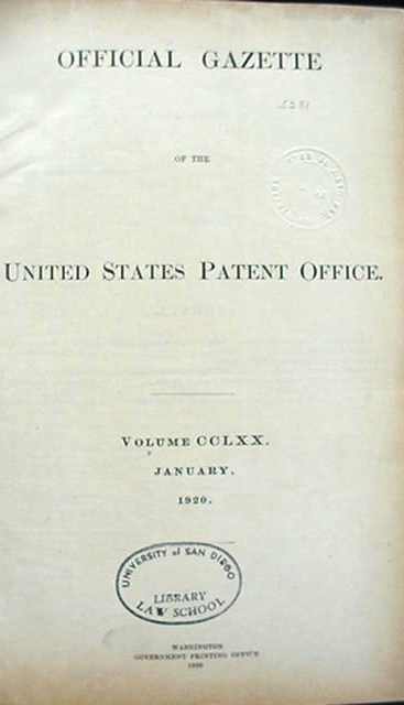 Official Gazette U.S. Patent Office Jan. 1920 Book 722 Pages