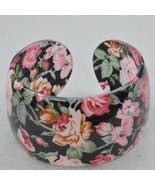 Bangle Bracelet Lucite Pink Roses Floral Pattern Design - $9.99