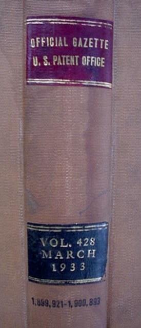 Official Gazette U.S. Patent Office March 1933 Book  936 Pgs