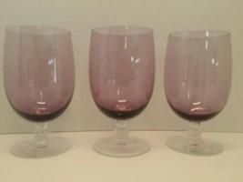 THREE (3) Lilac Purple Fostoria FASCINATION Footed Ice Tea  1958-1974 - $48.00
