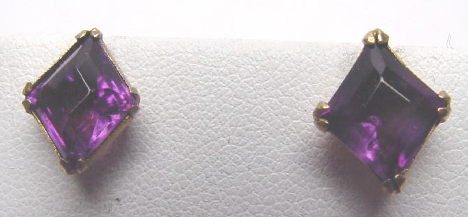 VINTAGE AMETHYST STUD EARRINGS