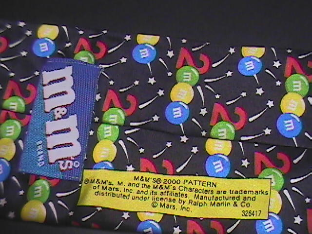Ralph Marlin Neck Tie M&M's 2000 Pattern M&M's and Fireworks on Black Background