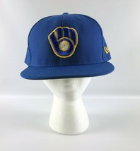 Milwaukee Brewers Fitted Baseball Hat New Era 5950 Royal Blue Size 7 7/8 - $39.59