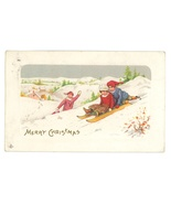 Xmas sledding vintage postcard children village Stecher 1912 - $7.00