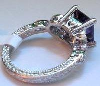 Sim. Amethyst Cubic Zirconium Engagement Ring Size 6 New