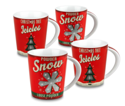 Konitz Vintage Christmas Holiday Decoration Mugs (Set of 4) 100% Porcelain - $43.49