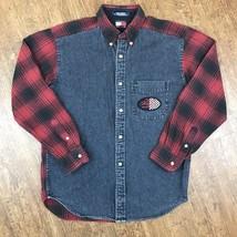 Vintage 90s Tommy Hilfiger Denim Flannel Motorcycle Advertisement Shirt ... - $54.94