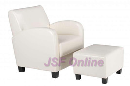 2 Piece SET Cream Faux Leather Club Lounge Arm Chair & Ottoman Wood legs - $289.99