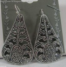 Tear Drop Antiqued Silver Filigree  Dangle Earrings - $12.99