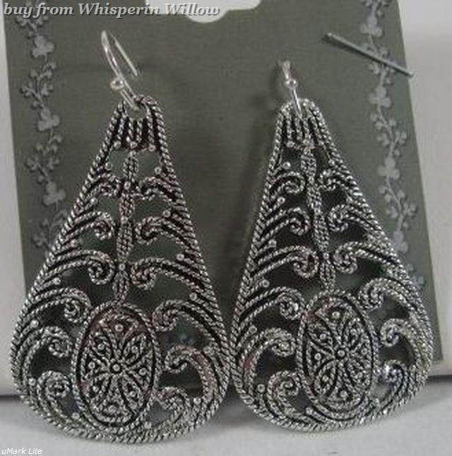 Tear Drop Antiqued Silver Filigree  Dangle Earrings