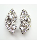Superb Vintage Clear Rhinestone Climber Clip Earrings  - $24.00