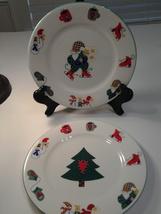 "Welcome Winter (2) Christmas salad plates 7.5"" Stoneware Ro Gregg Festive - $11.99"