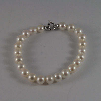 SOLID 18K WHITE GOLD BRACELET WITH FRESHWATER WHITE PEARL MADE IN ITALY  7,48 IN