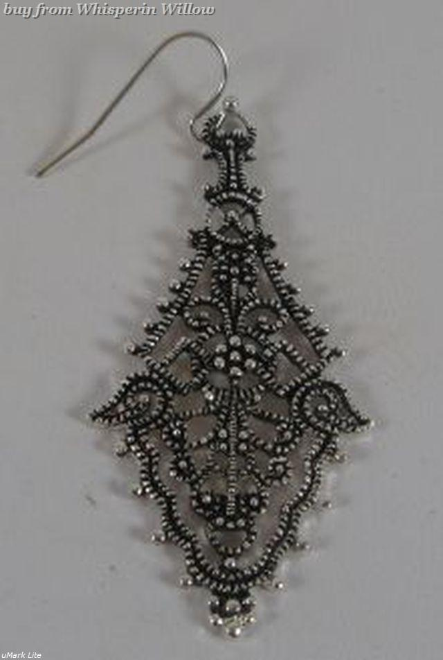 Diamond Shape Antiqued Silver Filigree Dangle Earrings