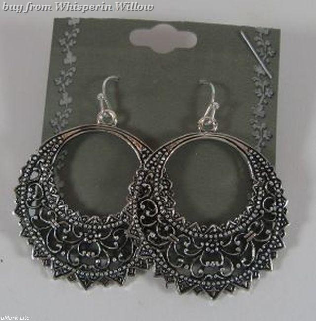 Half moon circle antiqued silver earrings 1