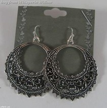 Antiqued Silver Half Moon Circle Filigree Dangle Earrings - $12.99