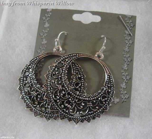 Antiqued Silver Half Moon Circle Filigree Dangle Earrings