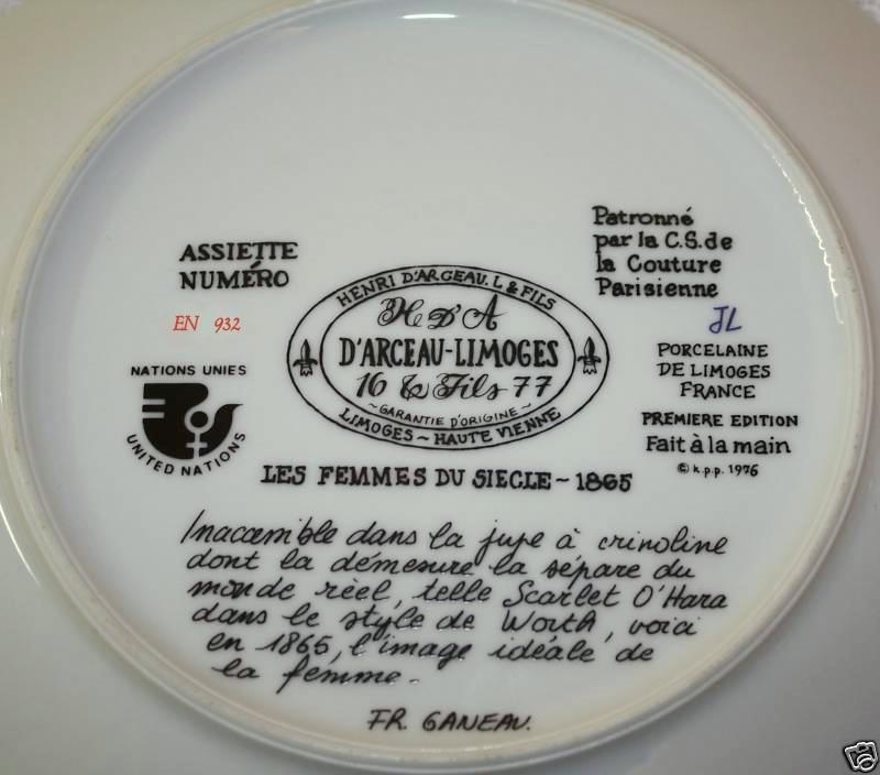 "D""ARCEAU-LIMOGES 1976 Scarlet En Crinoline Plate"