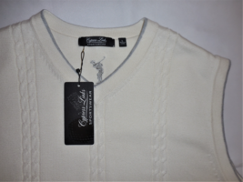 CYPRESS LINKS Cable Knit Cream Sweater Vest Large Golf Attire Sportswear LARGE image 2