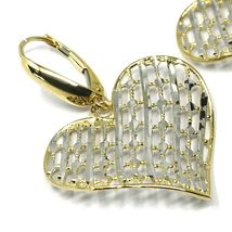 18K YELLOW WHITE GOLD PENDANT EARRINGS ONDULATE WORKED HEART, SHINY, STRIPED image 3