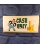 Cash Only Sign, Shop Payment Plaque Money Tills Notice Wooden Market 219 - $17.44